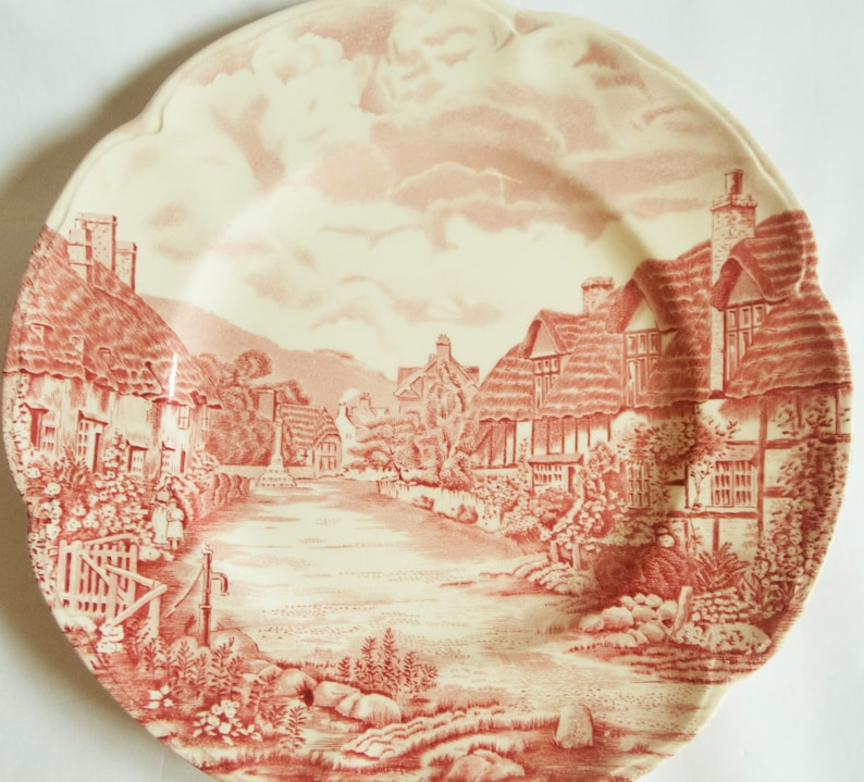 /'Olde English Countryside/' Red and White Ironstone Transferware Plate Johnson Bros