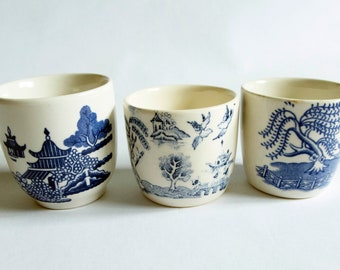 Mismatched Blue and White Transferware Egg Cups (3)