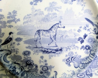 Job Meigh and Sons Staffordshire 'Zoological Sketches'  Blue and White Transferware  Plate