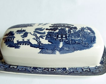 Johnson Brothers Willow Pattern Butter Dish