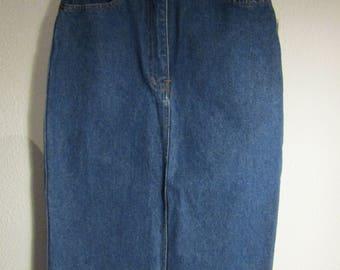 long denim high waisted skirt