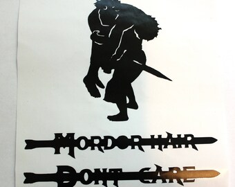 Parody Lord of the Rings Decal, Mordor LOTR sticker, Lord of the Rings Sticker, Return of the King Frodo and Sam Decal,Messy Hair Don't Care