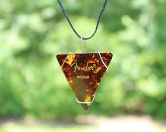 Guitar Pick Necklace: Tortoiseshell, Triangular guitar pick necklace, Grunge Guitar pick pendant, Unique musician necklace