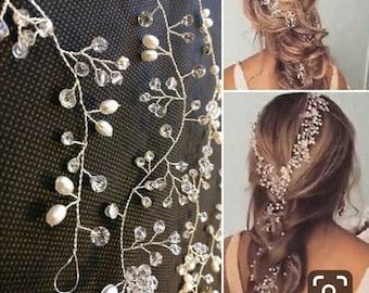 Extra long Pearl Wedding Hair wrap Crystal Bridal hair vine hair Accessories  Bridesmaid hair vine Prom Headpiece long Piece 140cm