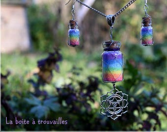 "Finery ""Rainbow"" colored salt * necklace and earrings"