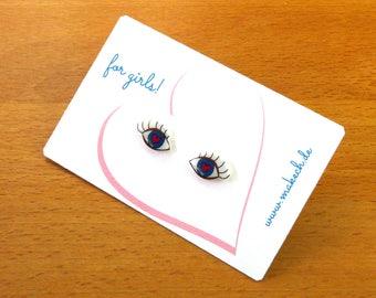 Girl children jewelry ear studs earrings 925 Silver eyes