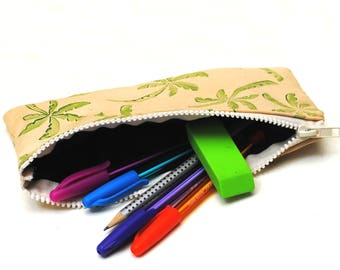 Palm Tree Tropical Paradise Hand Printed Pencil Case