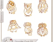 Doodle Owls 02, Transparent PNG  Digital Scrapbook | Clipart | Printable Designers Resources