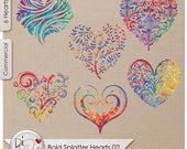 Bold Splatter Hearts 02, Transparent PNG , PNG Elements, Digital Scrapbook | Clipart | Printable Designers Resources