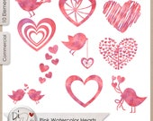 Pink Watercolor Hearts, Transparent PNG , PNG Elements, Digital Scrapbook Elements, Printable Designers Resources