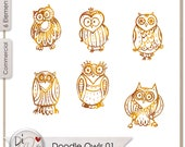 Doodle Owls 01, Transparent PNG  Digital Scrapbook | Clipart | Printable Designers Resources