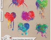 Bold Splatter Hearts 03, Transparent PNG , PNG Elements, Digital Scrapbook | Clipart | Printable Designers Resources