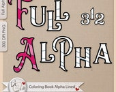 Coloring Book Alpha Lined | Create Your Own Coloring Book | Two Alpha Sets | PLR | Commercial Use