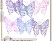 Watercolor Butterflies 01...
