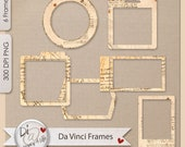 Da Vinci Paper Frames | Clipart | Commercial Use , Photo Frames , PNG Elements| Digital Scrapbook | Printables | Journals | Planners