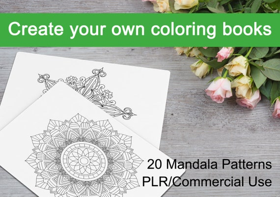 Mandala Patterns 02 Create Your Own Coloring Book 20 Mandala Patterns Plr Commercial Use