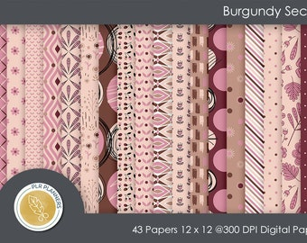 Digital Papers - Burgundy Secrets   Commercial Use   Scrap Books   Book Covers   Quick Pages