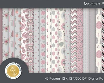 Digital Papers - Modern Rose   Commercial Use   Scrap Books   Book Covers   Quick Pages