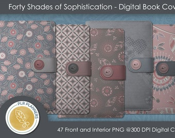 Digital Book Covers - 40 Shades of Sophistication   Commercial Use   Journals   Planners   Book Covers  