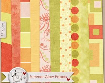 Digital Scrapbook Papers, Summer Glow, Digital Papers, Rad and Orange Digital Scrapbook Papers