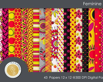 Digital Papers - Feminine Fire   Commercial Use   Scrap Books   Book Covers   Quick Pages