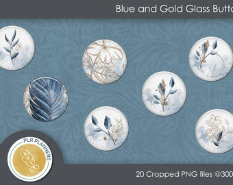 Glass Buttons Blue and Gold   Planners   Scrapbook Kits   Digital Flairs   Commercial Use