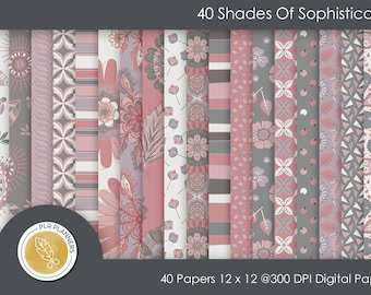 Digital Papers - 40 Shades of Sophistication   Commercial Use   Scrap Books   Book Covers   Quick Pages