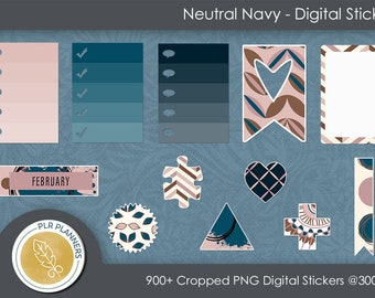 Digital Stickers - Neutral Navy   Commercial Use   Scrap Books   Book Covers   Quick Pages