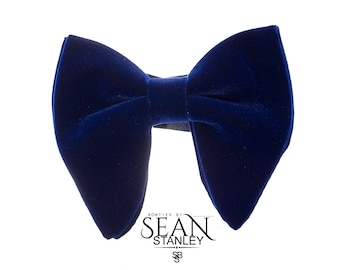 Navy Blue Velvet Big Bow Tie with Pocket Square