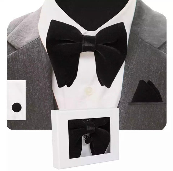 Oversized Velvet Bowtie Cufflink and Pocket Square Set