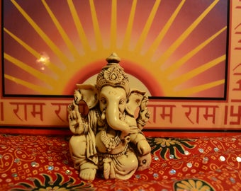 """3.5"""" Lord Ganesh / Ganesha Statue Sculpted in Great Detail with Antique Finish – Ganesh Idol for Car / Home Decor / Mandir / Gift."""