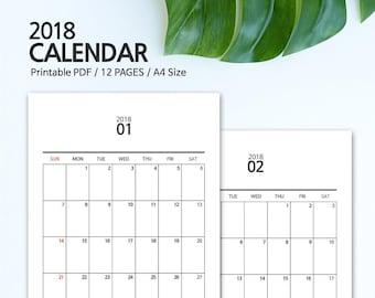 12 month calendar etsy