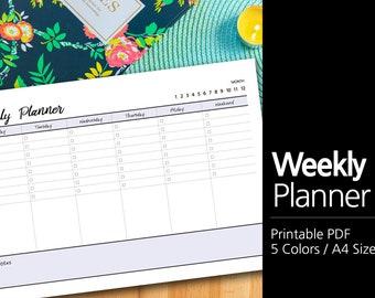 5 Colors Printable Weekly Planner A4 / Weekly Planner Printable / Desk planner / Undated / Simple / Minimalist  #42