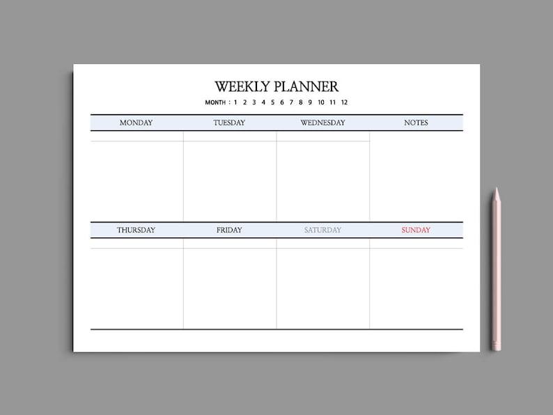 Superb 5 Color Printable Weekly Planner A4 Weekly Planner Printable Desk Planner Undated Simple Minimalist 61 Home Remodeling Inspirations Gresiscottssportslandcom