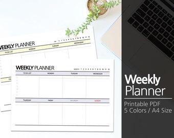 5 Colors Printable Weekly Planner A4 / Weekly Planner Printable / Desk planner / Undated / Simple / Minimalist  #2-2