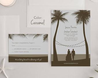 Custom Illustrated Wedding Invitation Sets Custom Beach | Etsy