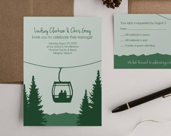 Gondola Mountain Wedding invitation Sets RSVP cards Wedding | Etsy