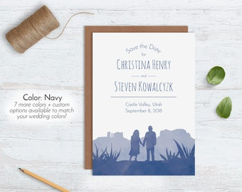 Southwestern Watercolor Save the Dates, Mountain Desert Wedding Announcement, Unique Rustic Navy Blue Personalized Custom Illustrated Kraft
