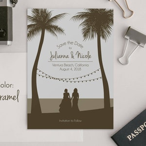 Custom Save The Date Custom Couple Rustic Beach Save the Date Card Palm Trees Drawing Dog String Lights Save The Date Cards