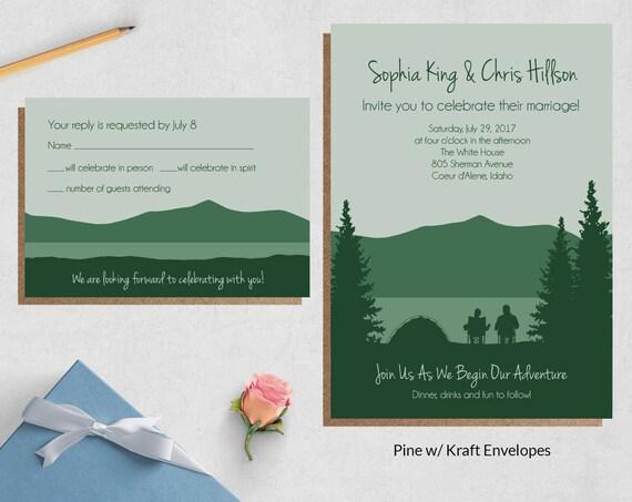 Camping Wedding Invitations: Camping Wedding Invitations Adventure Wedding Invites
