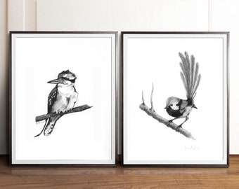 Bird Prints Set Of 2 Print Black And White Wall Art Bedroom Gift For Boyfriend Drawing Living Room