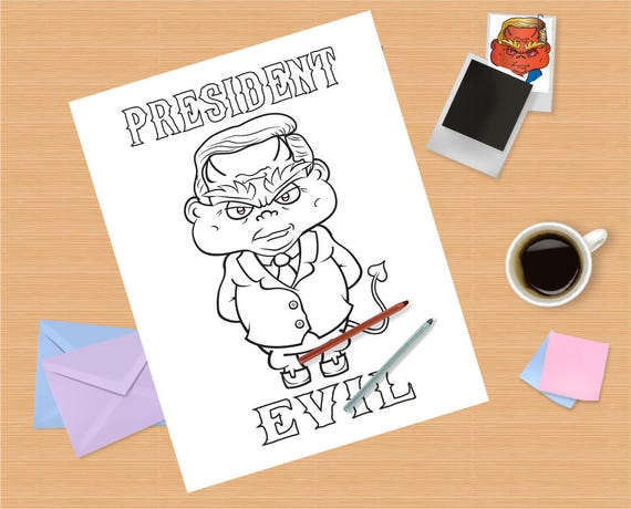 Donald Trump Adult Coloring Page Instant Download Name Etsy