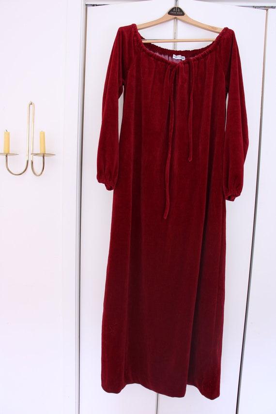 70's Halston Burgundy Velour Gown