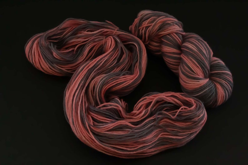 Hand Dyed Wool Worsted Weight Pink Gray Cherry Blossom