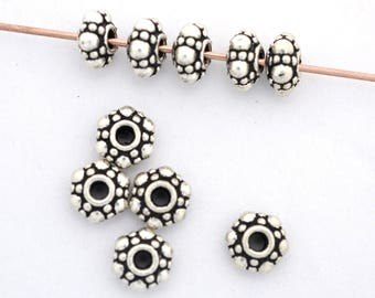 10 sterling silver beads, Bali spacer beads, saucer shape Antique silver plated beads for jewelry making, Metal spacers for 3mm cord, 10mm