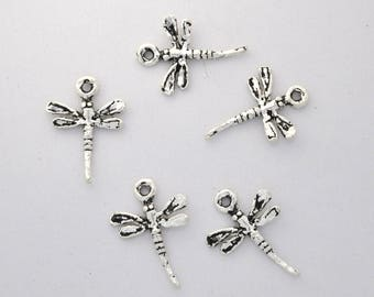 small Dragonfly charms, 5 pieces, handmade style antique silver plated charms, 15x20 mm charms for bracelet, jewelry charms