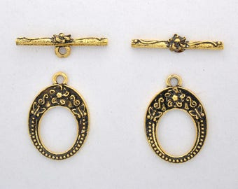 Filigree Gold Toggle Clasps, floral design, antique finish, gold plated clasps for Bracelet, oval shape, antique finish jewelry closures