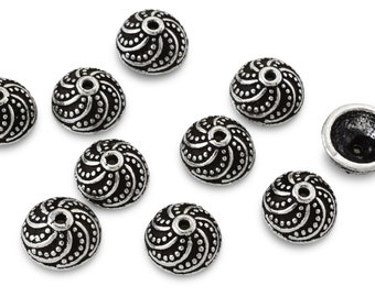 8mm (10) Bali silver bead caps for jewelry making, antique granulated silver plated bead caps, beadcaps 10pcs