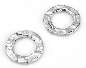Connector Rings Silver washers 2pcs - 18mm Artisan organic links, silver plated washer Link charms, handmade circles jewelry making O rings