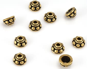 Bali Gold Bead Caps 7mm, antique gold plated small Bead Caps, tiny beadcaps for jewelry making, metal bead caps 10pc